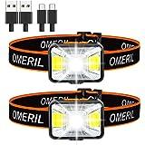 OMERIL Linterna Frontal LED USB Recargable, Linterna Cabeza Muy Brillante, 5 Modos de Luz (Blanco y Rojo), IPX5…