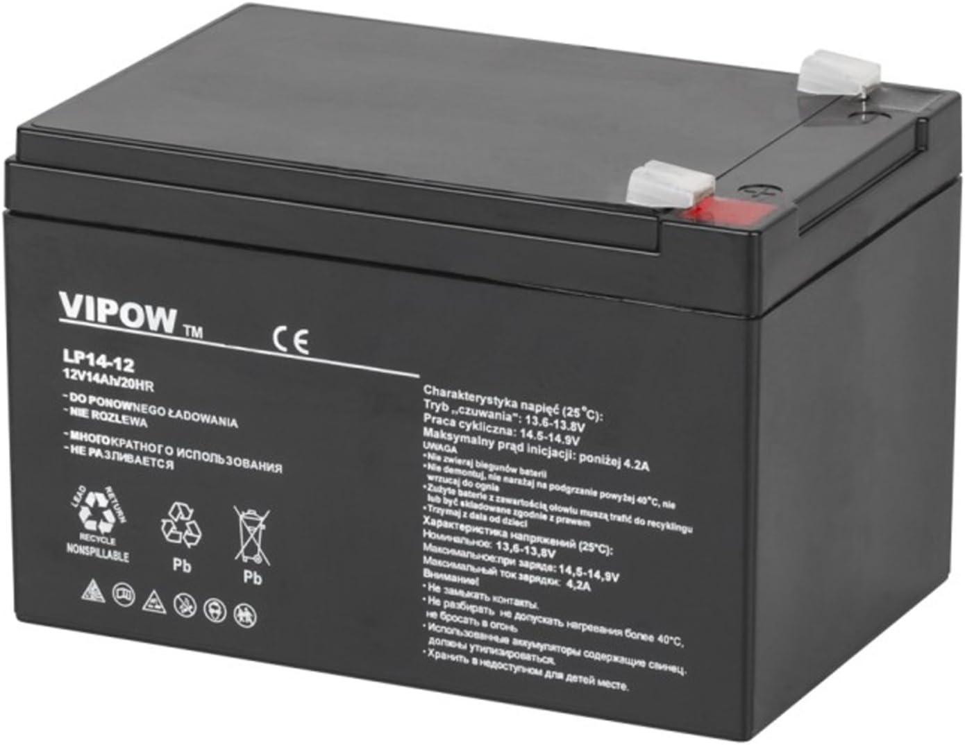 VIPOW bat0217 batterie au ploMB-gel 12V 14Ah sans entretien
