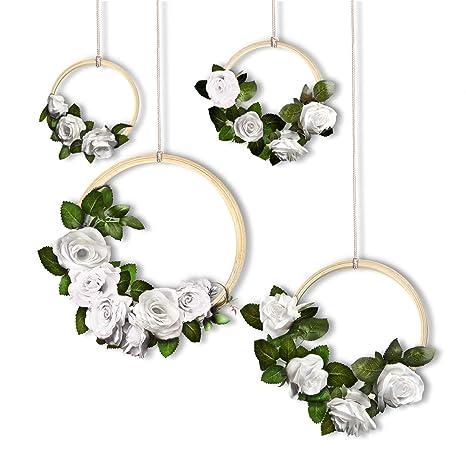 Simpledawn Flower Wreath Diy Vine Wreaths 4 Pack Flower Garland For Wedding Decorations Beautiful Quality Rose Garland Fake Flowers Rustic Wedding