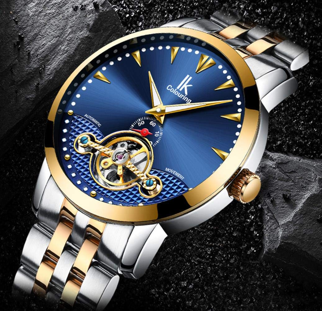 Haonb herrklockor helautomatiskt mekaniskt stålband modeklocka med kalenderfunktion nattlampa vattentät klocka D