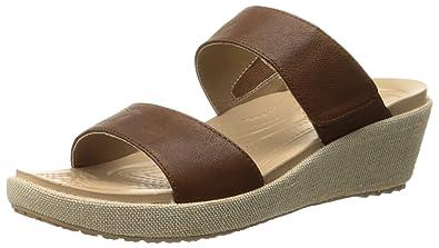 Crocs Women's A-Leigh 2 Strap Mini W Wedge Sandal, Hazelnut/Chai,