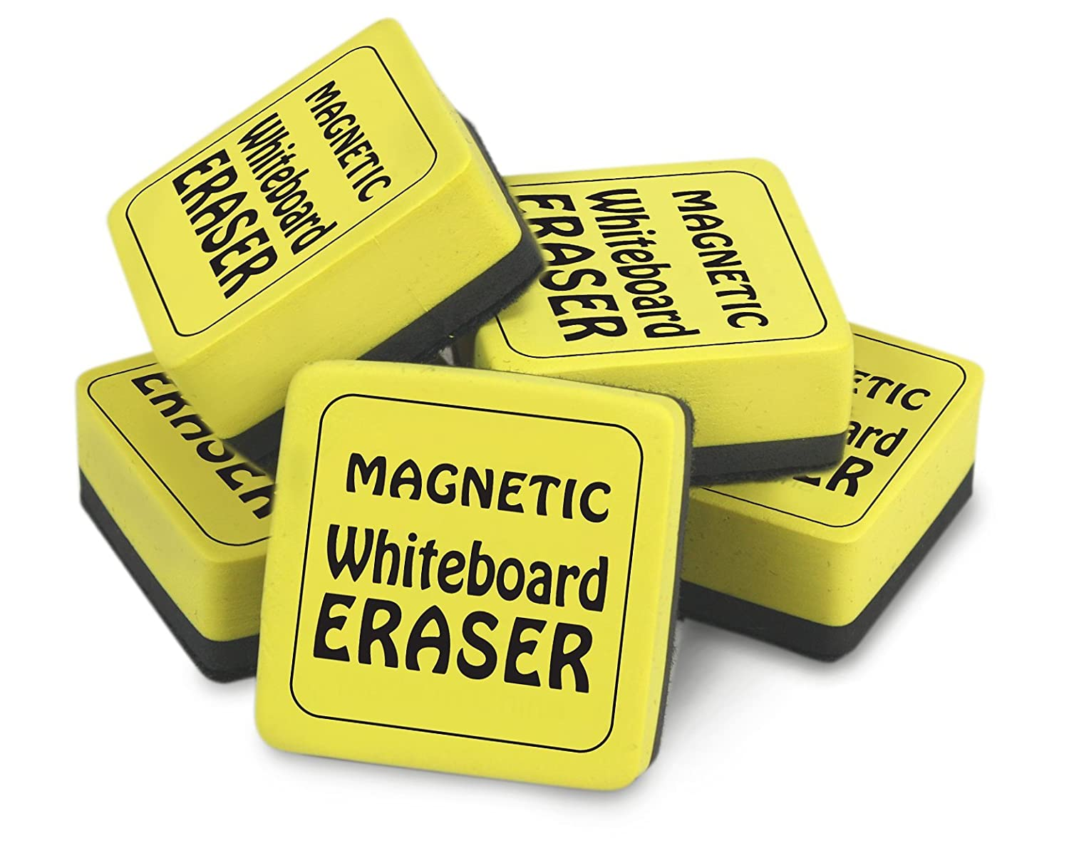 The Pencil Grip The Classics Magnetic Whiteboard Dry Erasers (12), 2 X 2-Inch, 12 Pack, Yellow/Black (TPG-355) Inc.