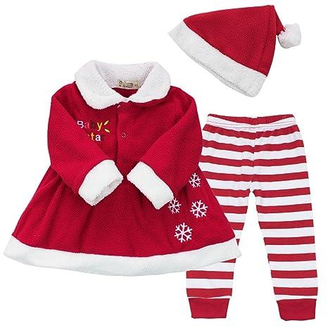 5cb5d745d606b iEFiEL Costume Noël Vêtement Bébé Filles Robe + Pantalon + Chapeau  Ensembles 9-24 Mois