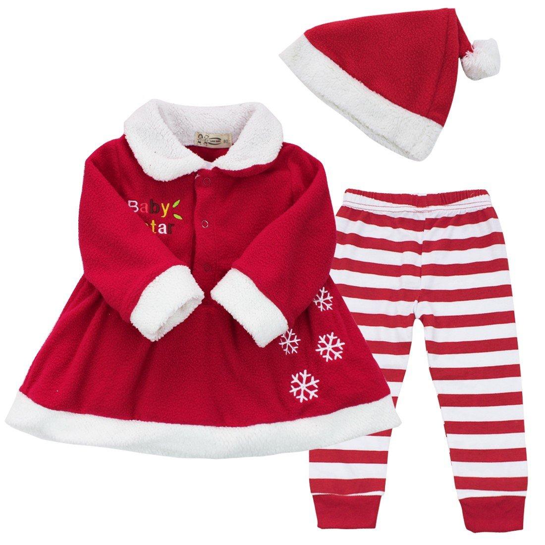 TiaoBug B/éb/é Fille Ensemble No/ël D/éguisement Santa Rouge Costume de Bapt/ême Tenue de P/ère No/ël Veste Tutu Manteau et Pantalonet Bonnet Chapeau No/ël Tenues 9-24 Mois