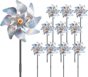 Reflective Bird Deterrent Pinwheels Holographic Mylar Pin Wheel Sparkly Silver Bird Repellent Devices Spinners Scare Birds Owl Away from Yard Garden Farm (Set of 10) (Silver)