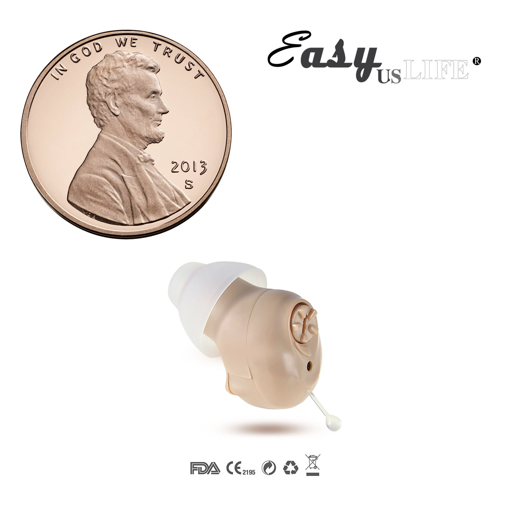 Tiny Size,Beige Color,in-The-Canal (ITC), New Digital Hearing Amplifier, Clearly Technology, Interchangeable, Suitable for Men and Women, Trademark: Easyuslife