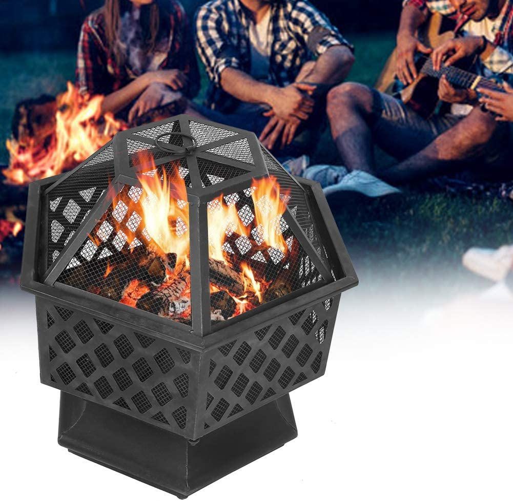 POCREATION Backyard Firepit w/Spark Cover, Hexagon Steel Wood Burning Stove BBQ Fire Pit Portable Bonfire for Outdoor, Camping, Traveling 25x24in