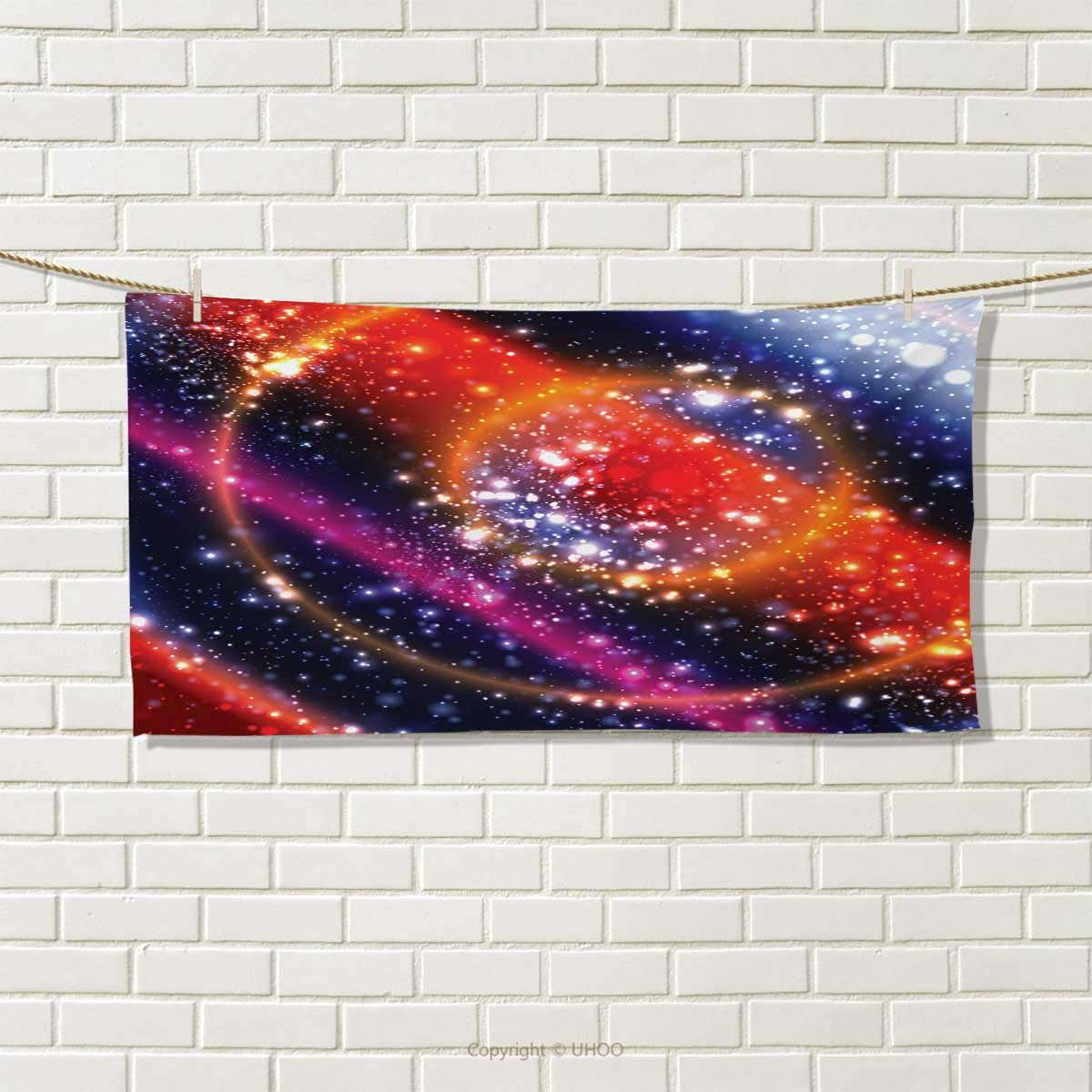 Chaneyhouse Space,Hand Towel,Apocalyptic Cosmos Design Circular Striped Vibrant Galaxy Mystic Sky Solar System,Quick-Dry Towels,Multicolor Size: W 20'' x L 20''