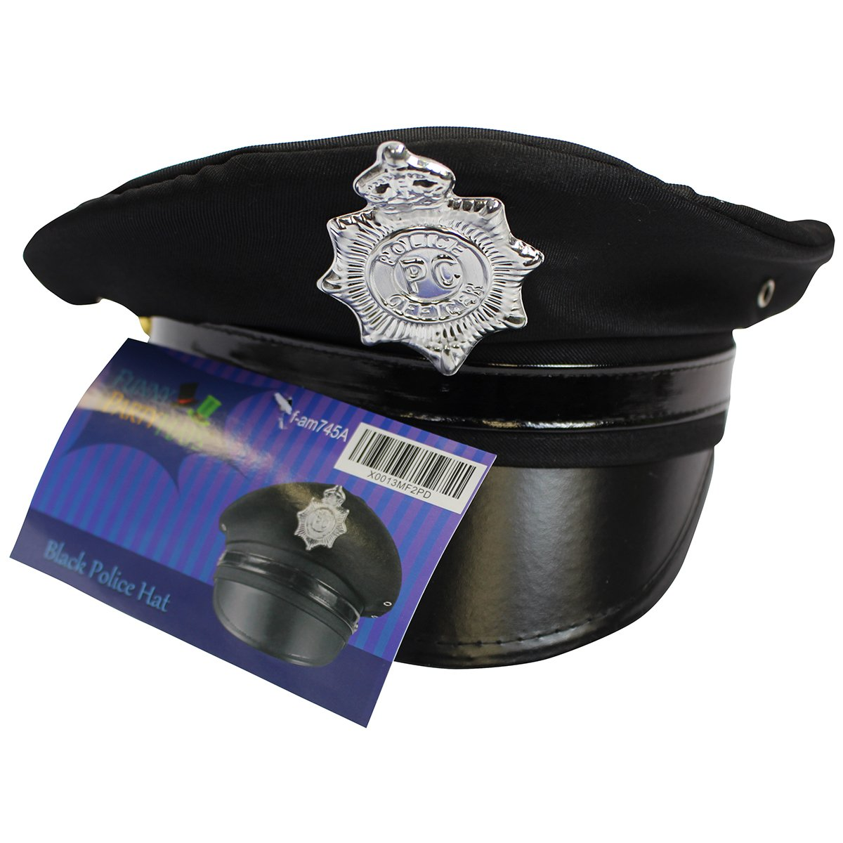 Amazon.com  Police Hat - Cop Hat - Black Captain Hat - Officer Hat - Police  Officer Costume Accessories by Funny Party Hats  Clothing f83b3714896
