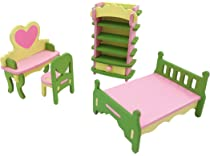 Pretend Play Smooth Edges Nontoxic Paint Twenis 1//12 Dollhouse Furniture Set of 5 Kitchen Accessories in Wood