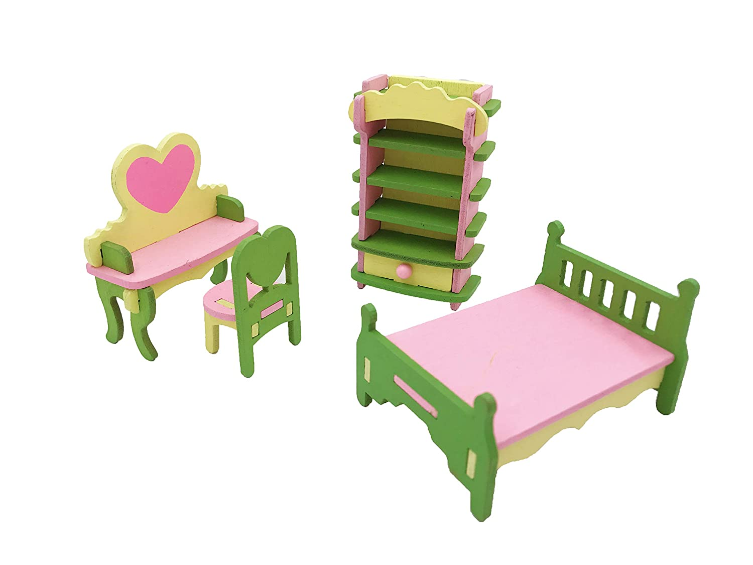 Smooth Edges Twenis 1//12 Dollhouse Furniture Set of 4 Bedroom Accessories in Wood Pretend Play Nontoxic Paint