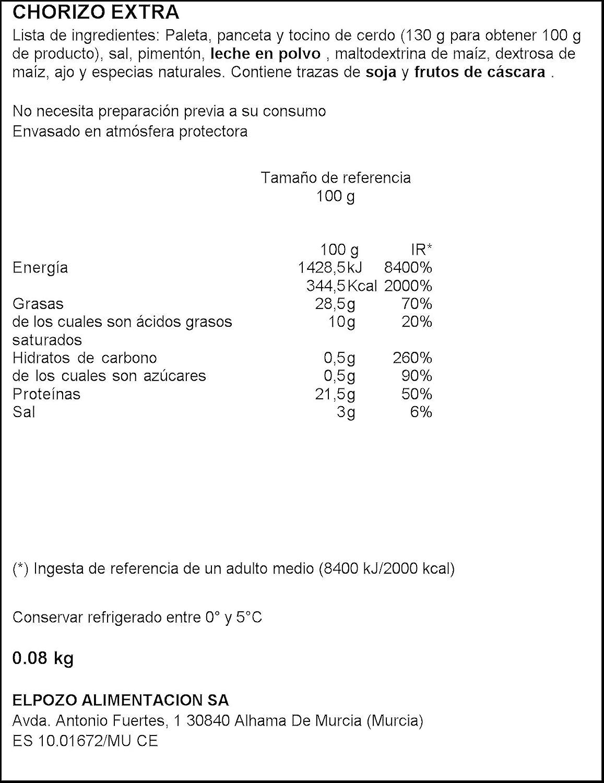 Elpozo All Natural Chorizo Extra Artesano - 80 g: Amazon.es: Amazon Pantry