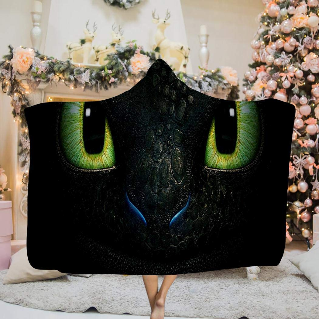TWHDMMH745 How-to-Train-Your-Dragon Hooded Blanket Flannel 3D Print Cloak Wearable Hooded Blanket for Adult and Kids 60 x 80 inch