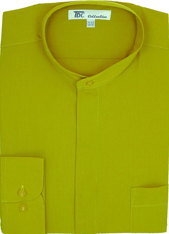 Fortino Landi Mens Cotton Blend Banded Collar Dress Shirt Sg15
