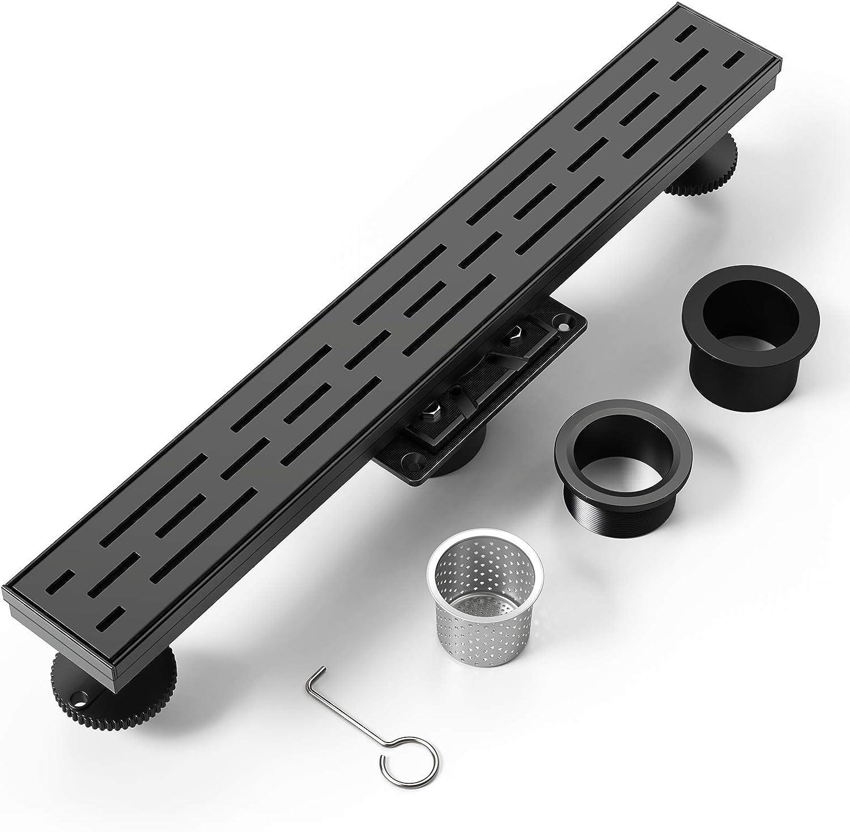PRIMSOPH 36 Inch Rectangular Linear Shower Floor Drain With Flange Accessories,Brick Pattern Grate Removable,Food-grade SUS 304 Stainless Steel,WATERMARK&CUPC Certified,Matte Black