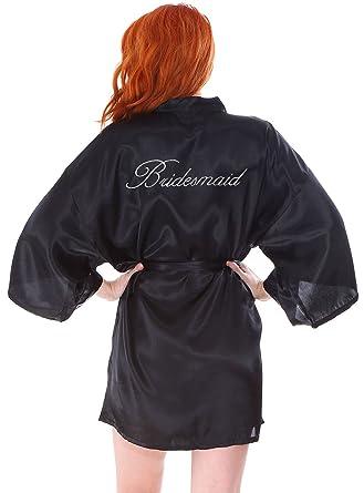 ac45328bbe Personalized Custom Embroidery Wedding Short Kimono Silk Satin Bathrobe  Black