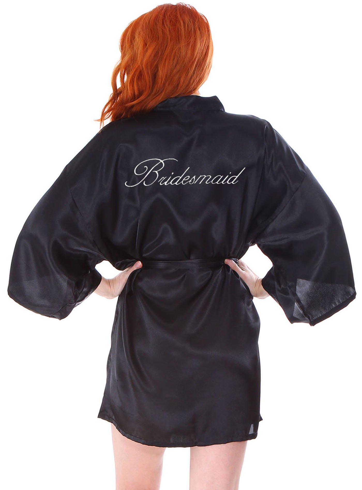 AshopZ Personalized Custom Embroidery Wedding Short Kimono Silk Satin Bathrobe Black