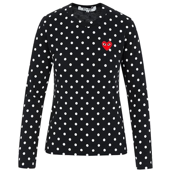 155291b0b94a Comme des Garcons Play Women s Red Heart Patch Polka Dot LS T-Shirt P1T165 (