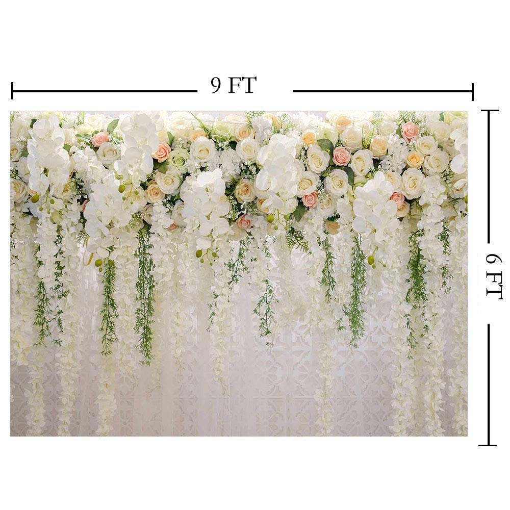 Jewderm 9x6ft Photography Backdrop 3D Pink Rose Flower Wall Photo Background for Wedding Reception Wallpaper Decoration Outside Birthday Party Props