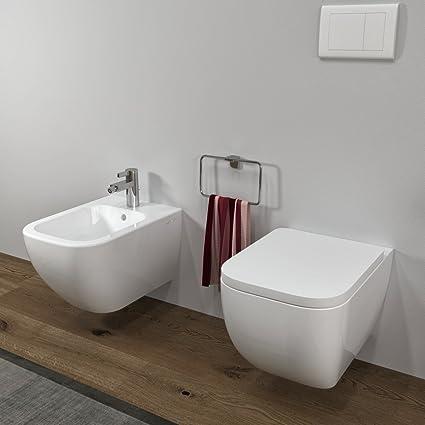 Sanitari bagno Bidet e Vaso WC SOSPESI Legend filo muro con coprivaso softclose MarinelliGroup