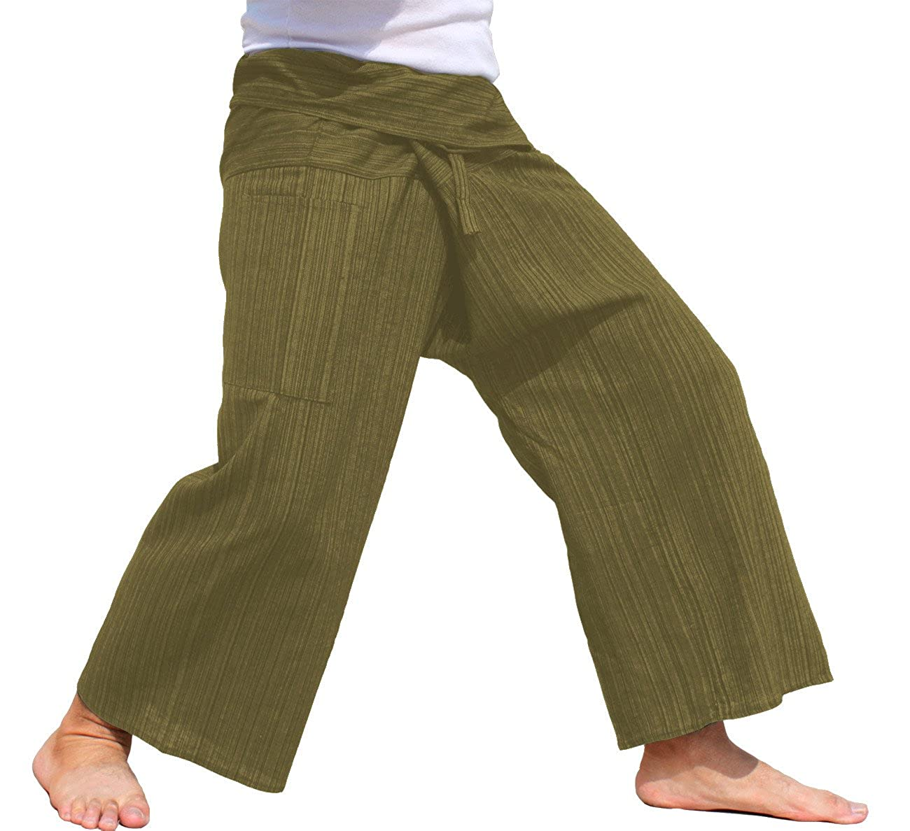 RaanPahMuang Brand Plain Thick Muang Cotton Fisherman Wrap Tall Pants CA_AMZvariant16190MDL
