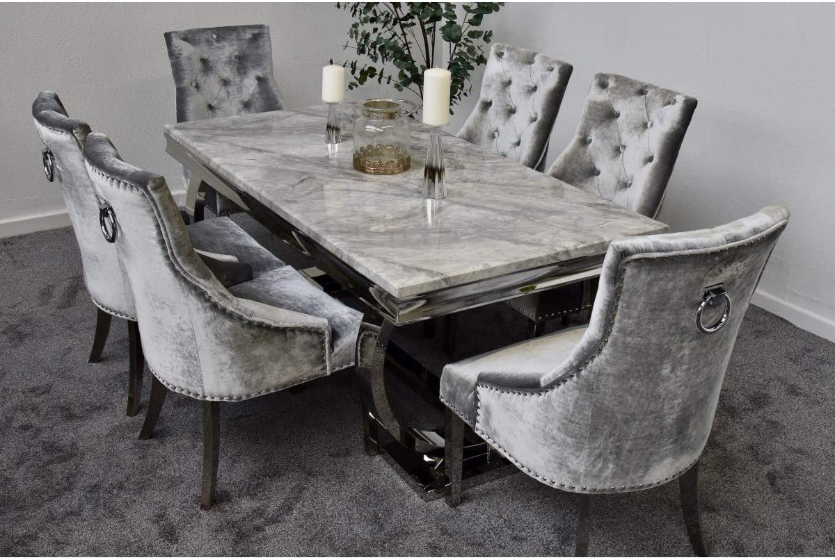 Schwarze Furniture Arianna 1 6m Grey Marble Mirrored Dining Table And 4 Lion Head Chairs Set Furniture Dining Room Furniture Tennesseegreenac Com