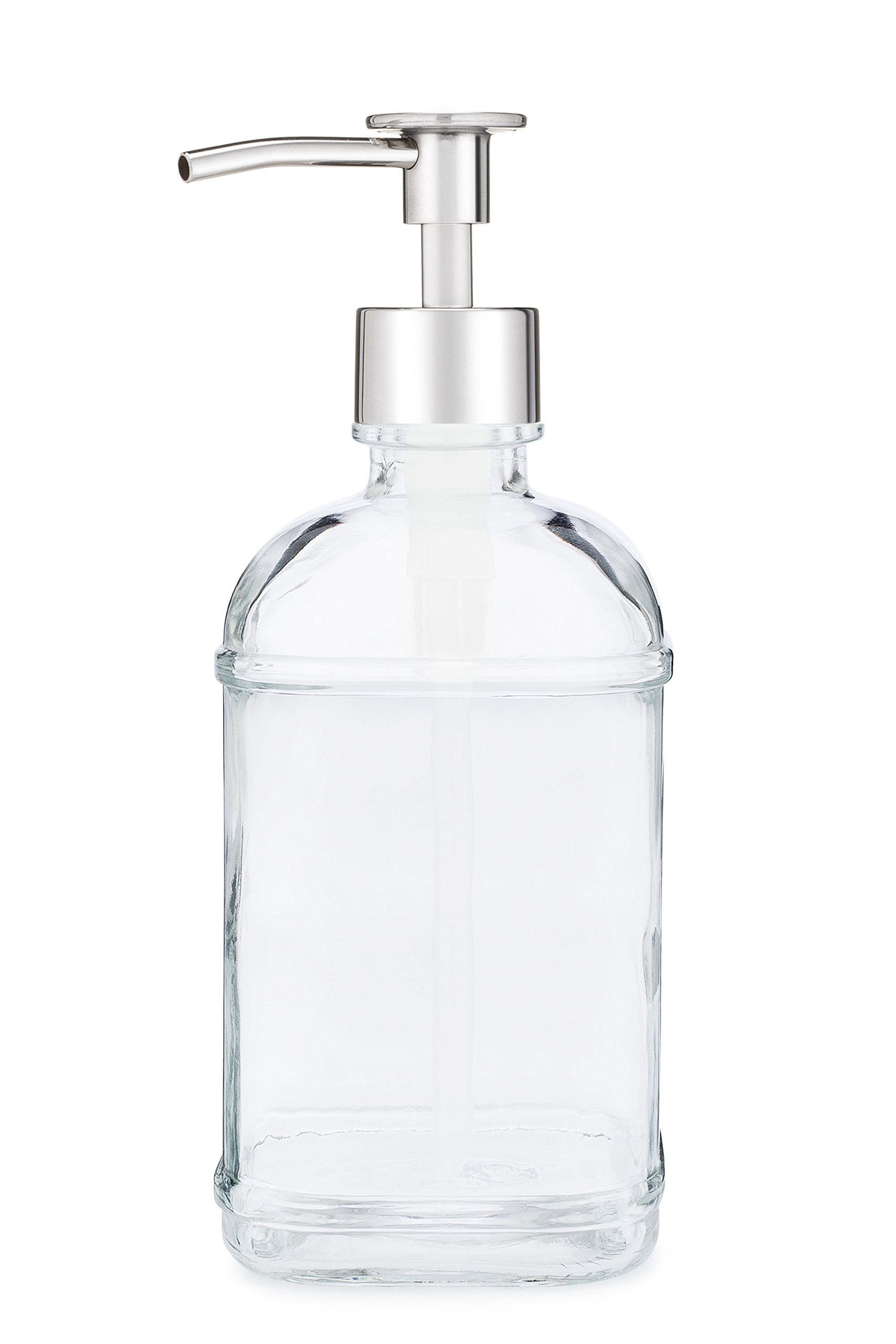Rail19 Catalina Glass Soap Dispenser Liquid Hand Soap Pump for The Kitchen and Bathroom Sink - Great for Dish Soap, Hand Soap and Hand Lotion (Luxe Chrome)