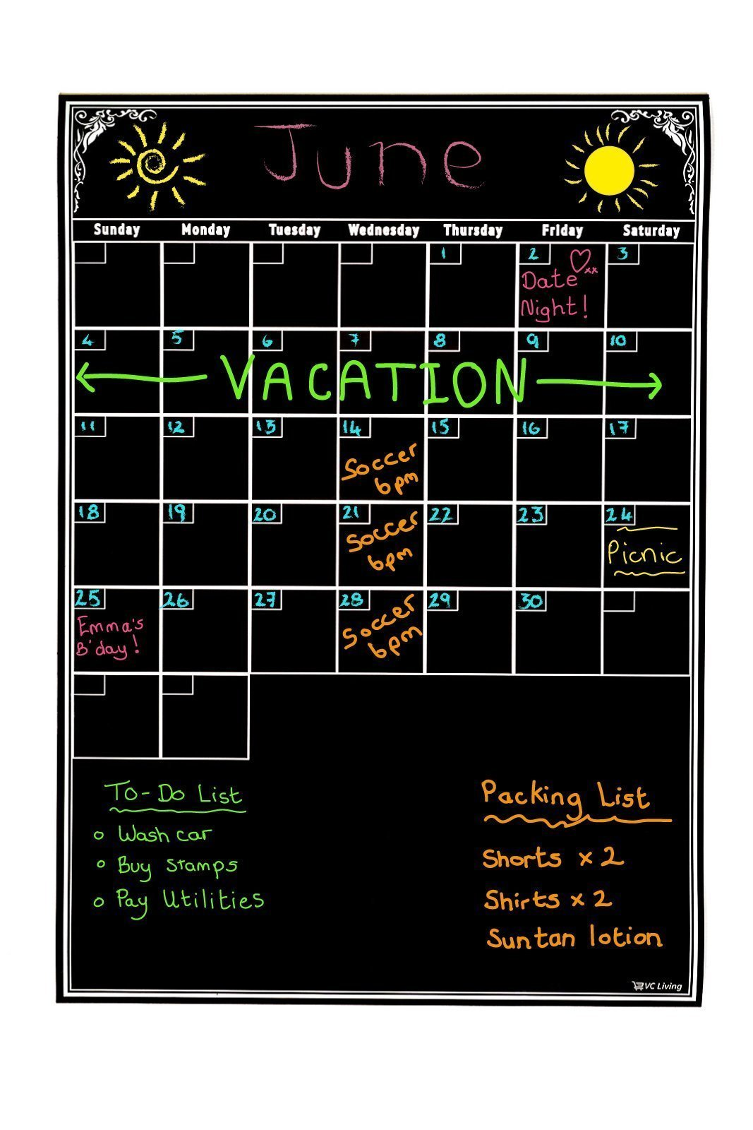 """Dry Erase Board Monthly Planner To Organize Your Life & Be More Productive! Reusable Black 11"""" x 17"""" Dry Erase Calendar For Flexible Planning. The Best Wall Calendar. Refrigerator Ready."""