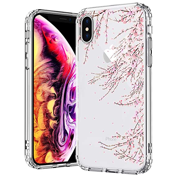 sports shoes 405f9 7174d MOSNOVO Case for iPhone Xs/iPhone X, Cherry Blossom Floral Flower Printed  Clear Design Transparent Plastic Hard Slim Back Case with TPU Bumper Gel ...