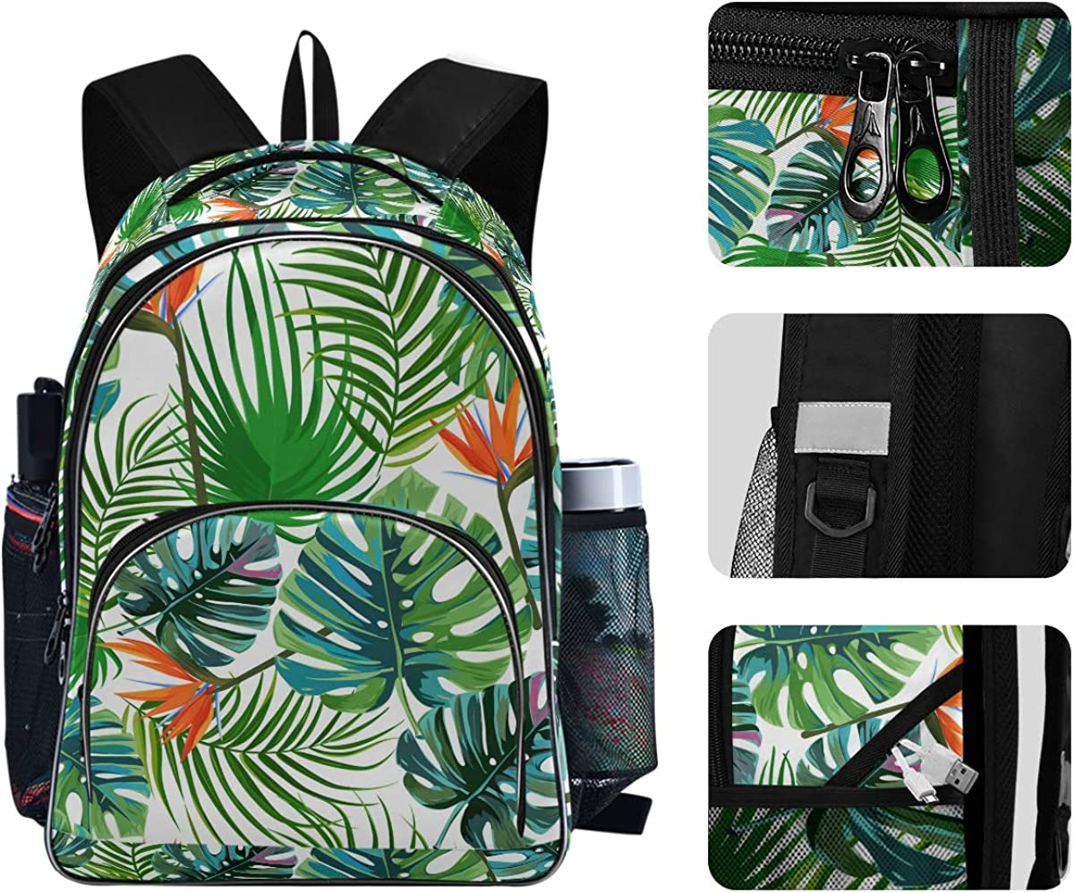 Travel Laptop Backpack,Lightweight Anti Theft Durable Backpack,Tropical Palm Leaves College School Computer Bag Gifts for Men /& Women