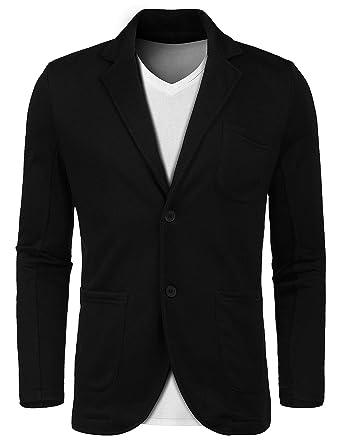 3f808df87031 Lunir Men's Little Slim Lightweight Soft Ruched Sleeve Black Blazer Elegant