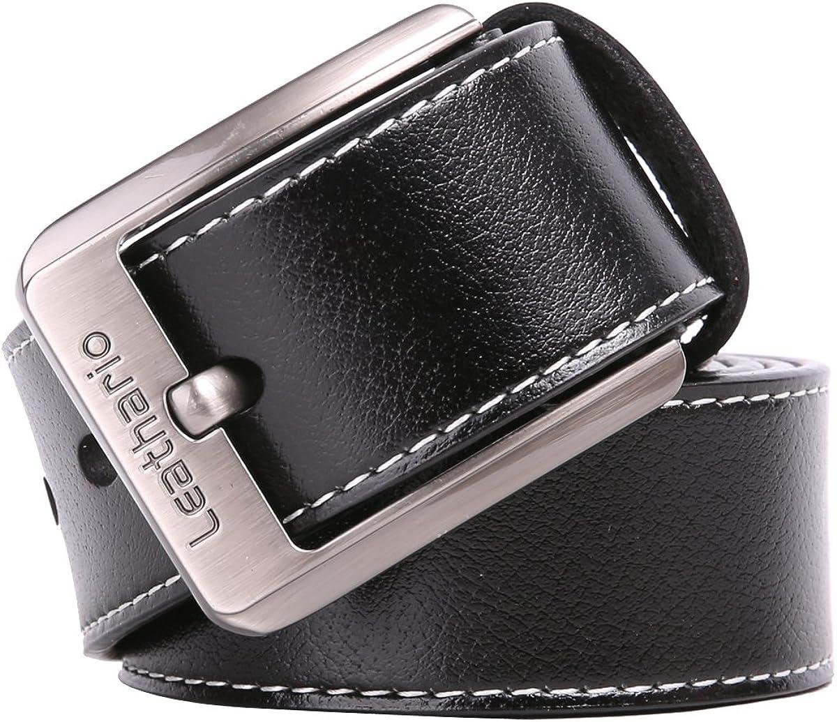 Leathario cinturones de hombre de piel sintetica cinturones de moda de cuero con buenos acabados para caballeros hebilla elegante