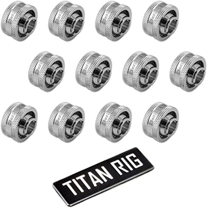 6-Pack 3//4 OD Compression Fitting V2 for Soft Tubing Black Chrome XSPC G1//4 to 1//2 ID