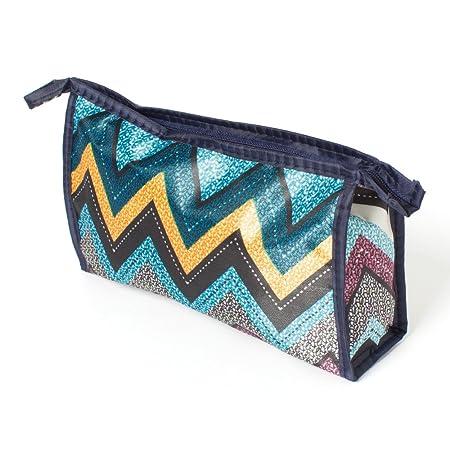 Multipurpose Travel Bag   ZigZag Design   Blue  amp; Black Toiletry Kits