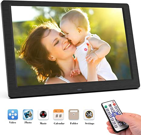 10 Inch Digital Photo Frame High Resolution Full IPS Display Photo Calendar Alarm Auto On//Off Timer Remote Control,Gray Support USB and SD Card