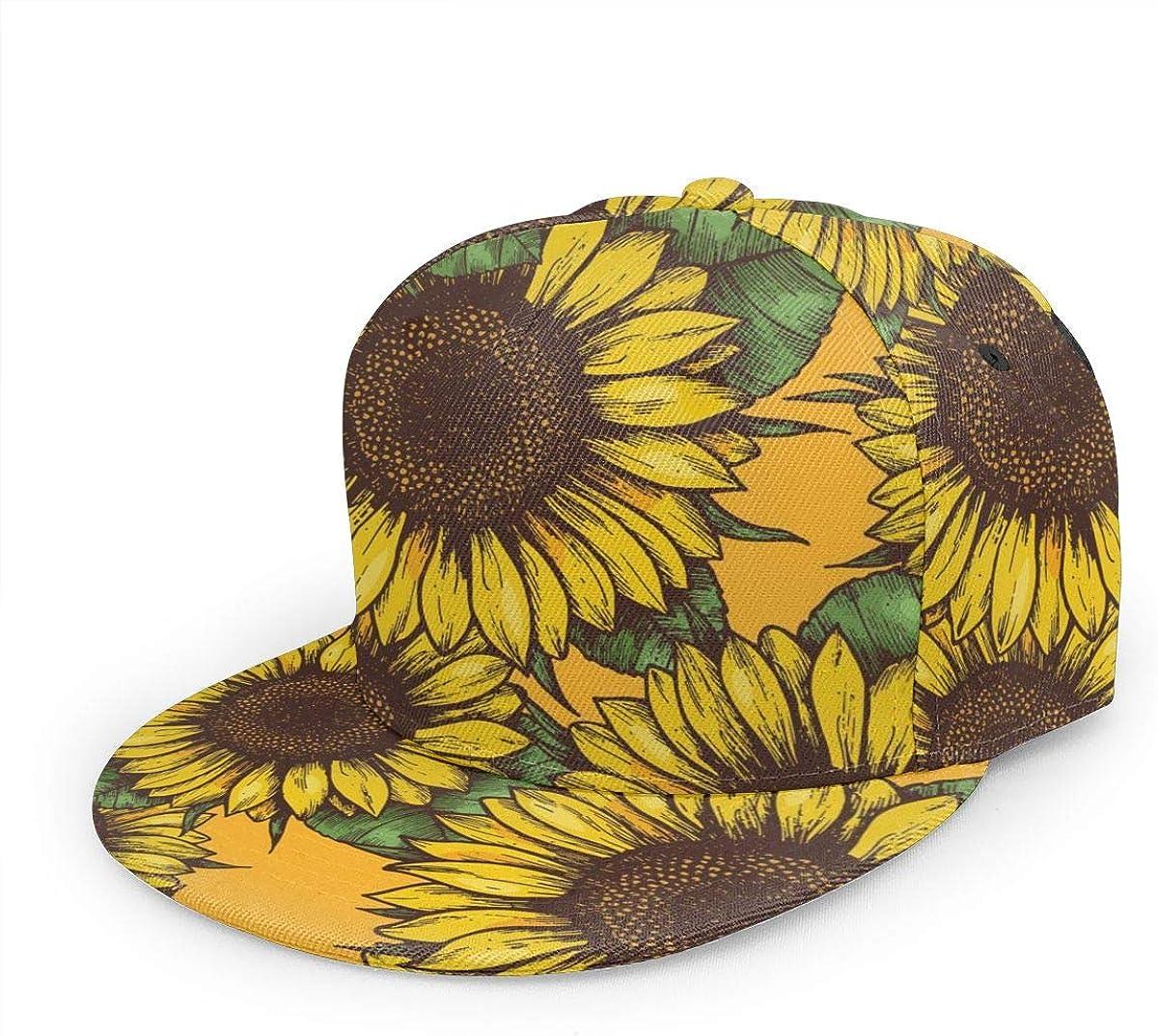 Classic Adjustable Snapback Flat Bill Brim Trucker Hat Sunflower Unisex Baseball Cap Sports Visor Hats