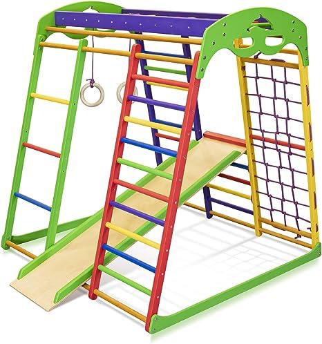 Centro de actividades con tobogán ˝Unga˝, red de escalada, anillos, escalera sueco, campo de juego infantil, Juguetes