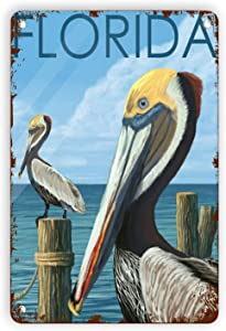 Floridas Travel Metal Vintage Tin Signs Home Wall Decor Retro Art Tin Sign Funny Travel Posters Chic Decorations for Home Bars Pubs Cafes Farmhouse Living Room Metal Plaque Posters 8x12 Inch