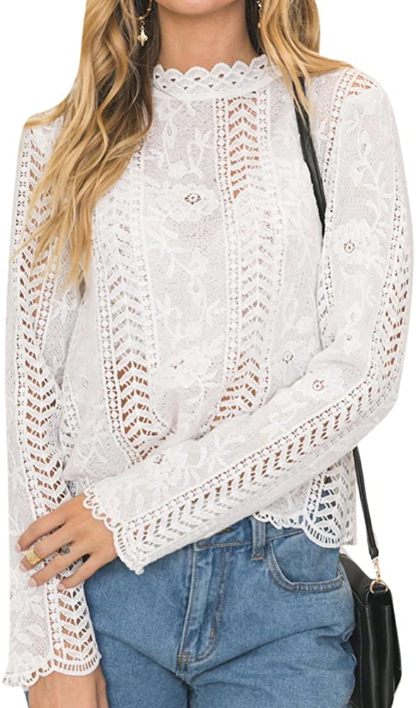 Anyu Mujer Camiseta de Encaje Ganchillo Floral Blusas de Manga Larga Camisas Blanco XL: Amazon.es: Ropa y accesorios