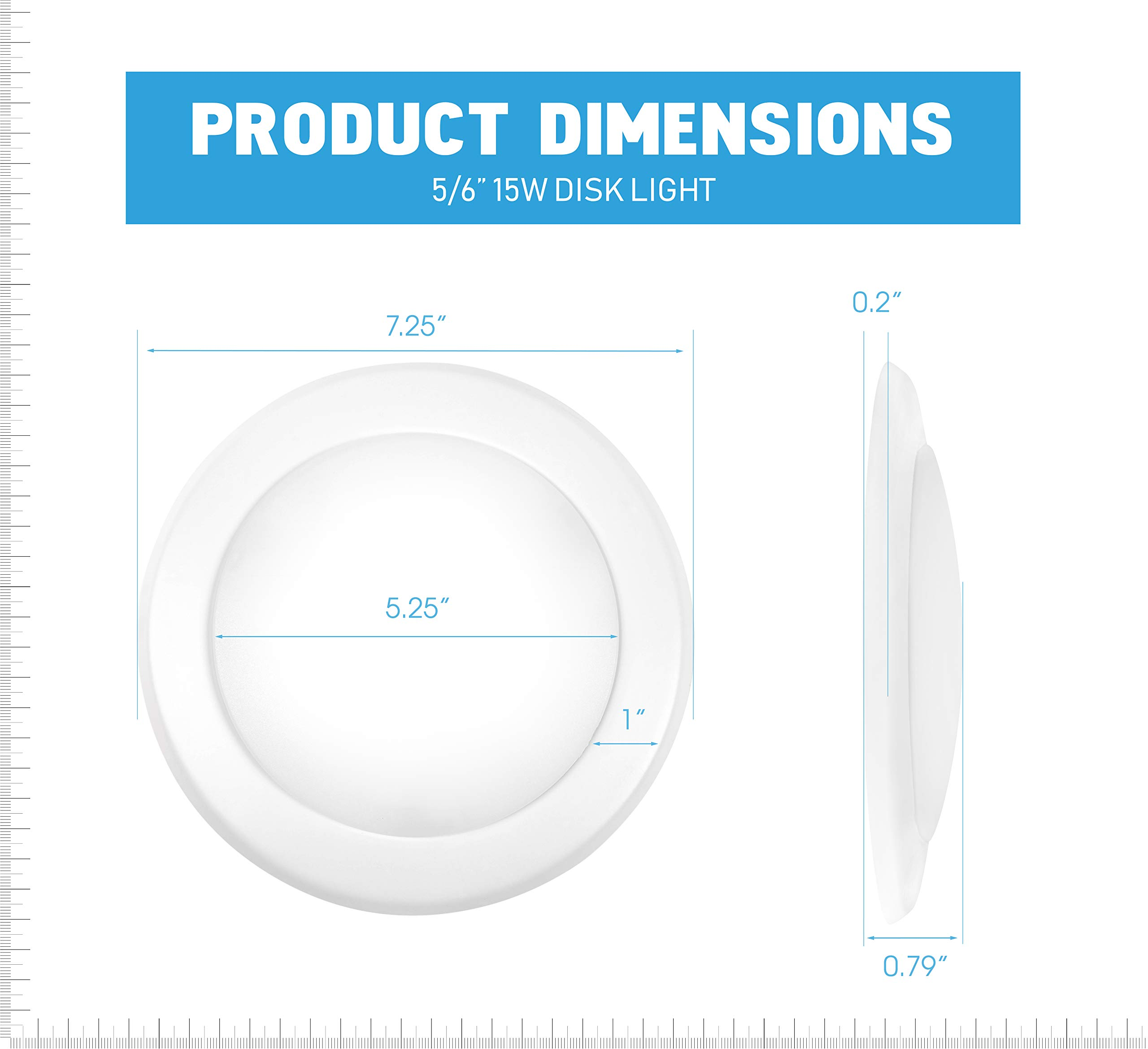Parmida (12 Pack) 5/6'' Dimmable LED Disk Light Flush Mount Recessed Retrofit Ceiling Lights, 15W (120W Replacement), 5000K (Day Light), Energy Star, Installs into Junction Box Or Recessed Can, 1050lm by Parmida LED Technologies (Image #4)