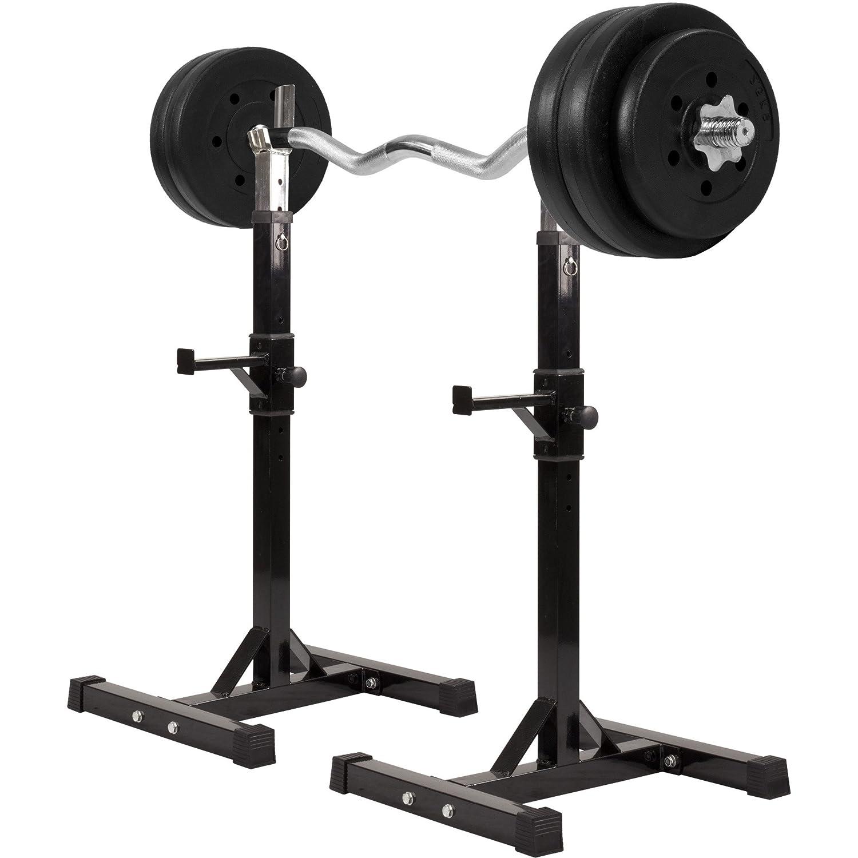 GORILLA SPORTS® Hantelständer mit Hantelset Kunststoff 35 kg – Langhantelablage mit SZ-Curlstange, Gewichten und Sternverschlüssen