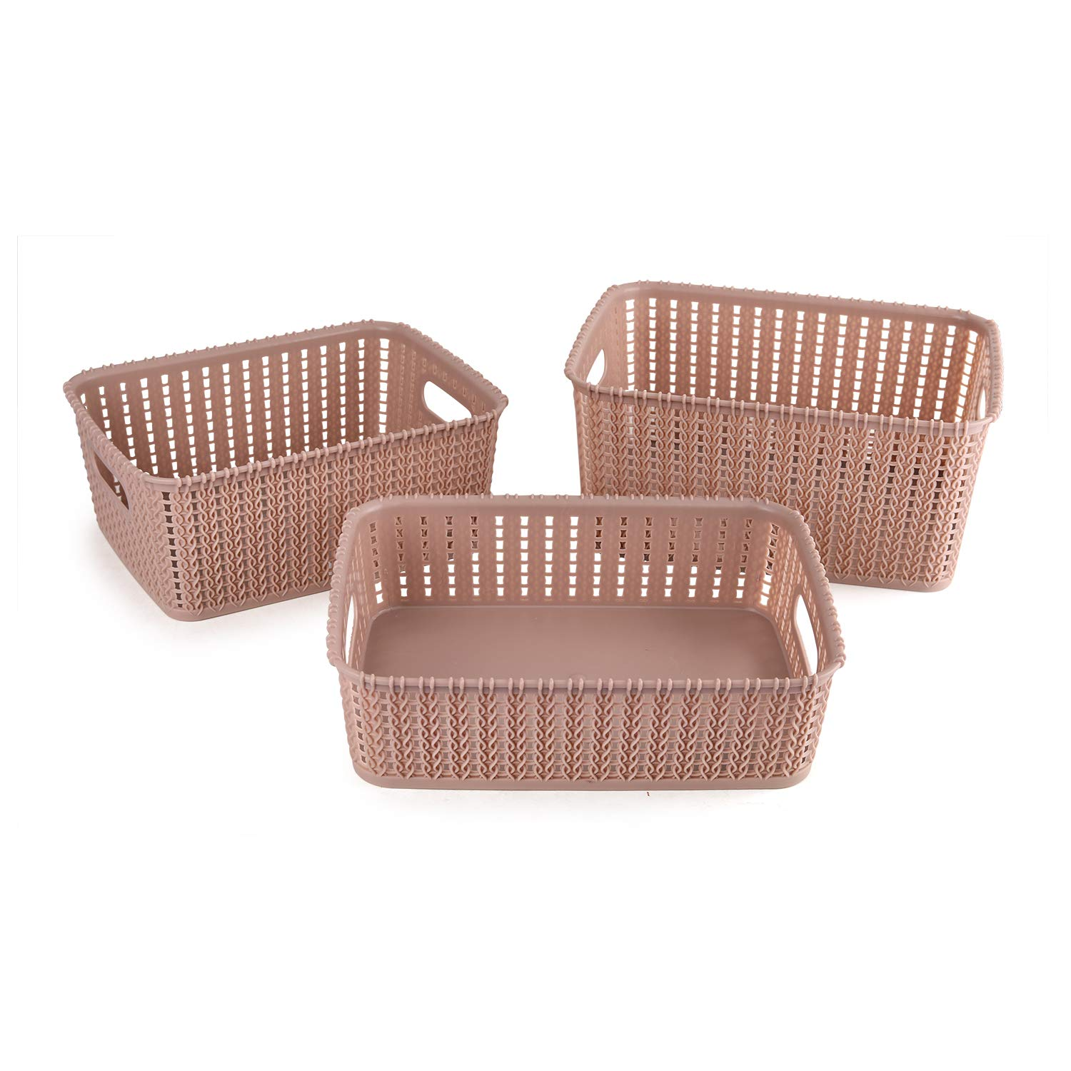 Cello Style Knit Small Basket Without Lid, Set of 3