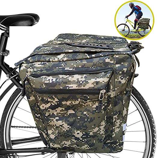 ASANMU Bolsa Trasera para Bicicleta, Alforja Maletero Impermeable Bolsa Bicicleta Multifuncional 2 Compartimentos Bcicleta Pannier mit Cinta Reflectante para Bicicleta de Montaña - Camuflaje Verde: Amazon.es: Deportes y aire libre