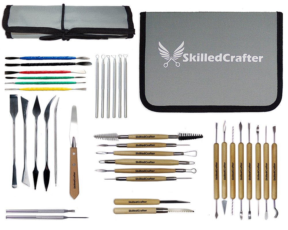 Skilled Crafter Modeling Tools for Clay. Fantastic Choice for Sculpting & Detailing, Complete with Roll-Up & Zip-Up Case for Safe Storage.