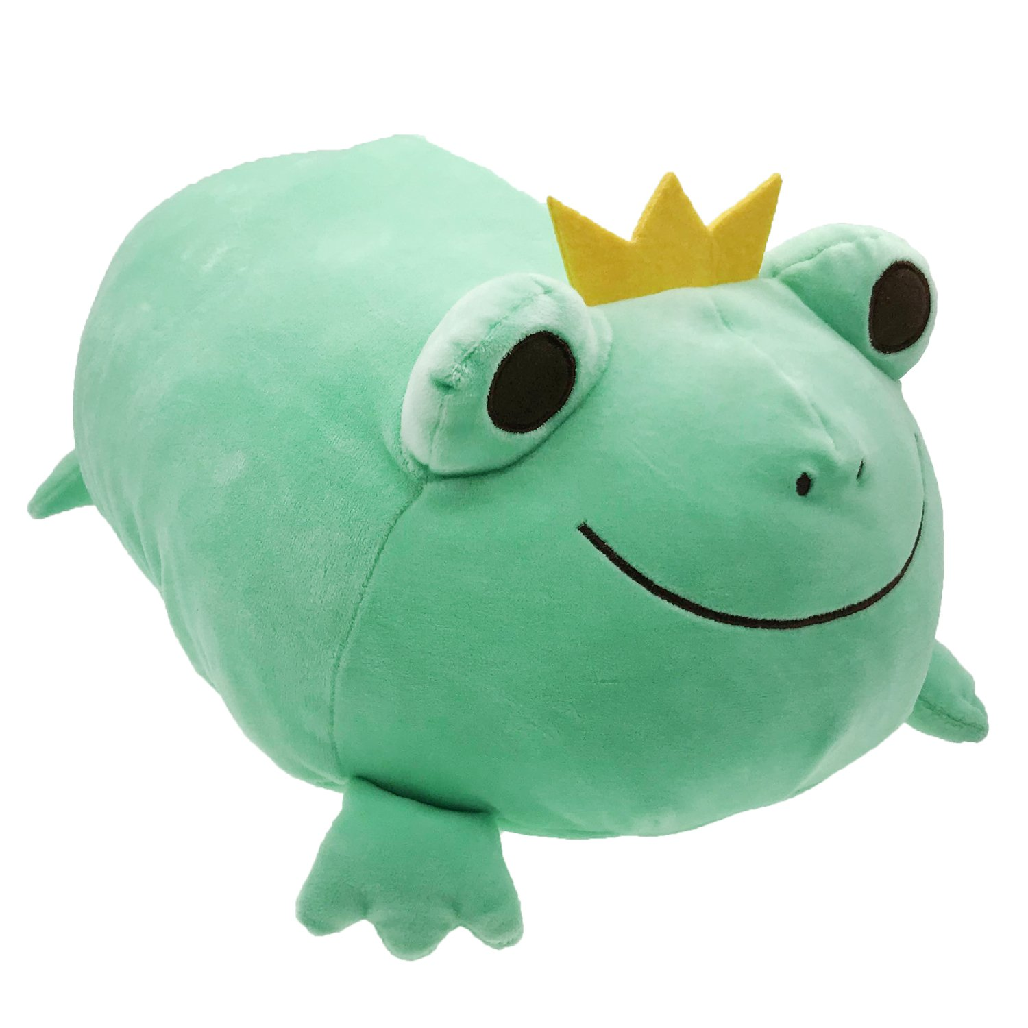Frog Stuffed Animal Stretchy Frog Plush Pillow with Crown Cuddly Adorable Gift for Kids Creative Decoration 14 Inches Green