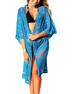 0814cf789f GRAPENT Womens Floral Crochet Open Front Beach Swimsuit Cover up Kimono  Cardigan