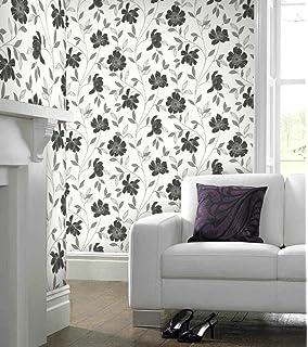 Fd20336 classics floral acanthus floral flowers silver black super fresco camille floral blackwhite wallpaper mightylinksfo