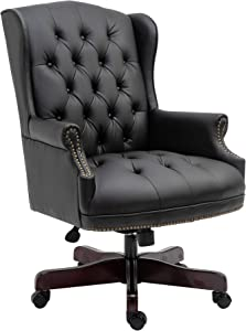 HALTER Executive Office Chair - High Back Reclining Comfortable Desk Chair - Ergonomic Design - Thick Padded Seat and Backrest - PU Leather Desk Chair with Smooth Glide Caster Wheels (Black)