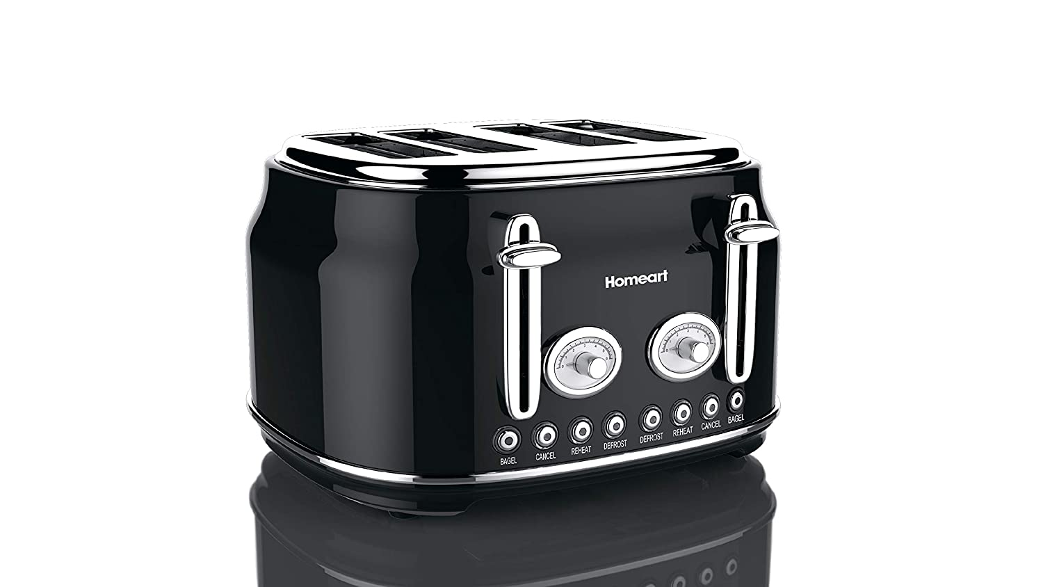 Artisan 4 Slot Toaster by Homeart | 2019 Best Electric Toaster with Multi-Function Toaster Options | Vintage Toaster Stainless Steel (Black)