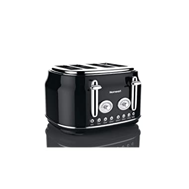 Artisan 4 Slice Toaster by Homeart | 2019 Best Toaster with Multi-Function Toaster Options | Vintage Toaster Stainless Steel (Black)